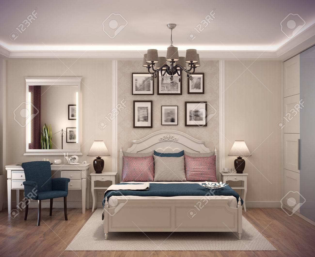 rendering 3d accogliente camera da letto in stile classico. letto ... - Cuscini Per Camera Da Letto