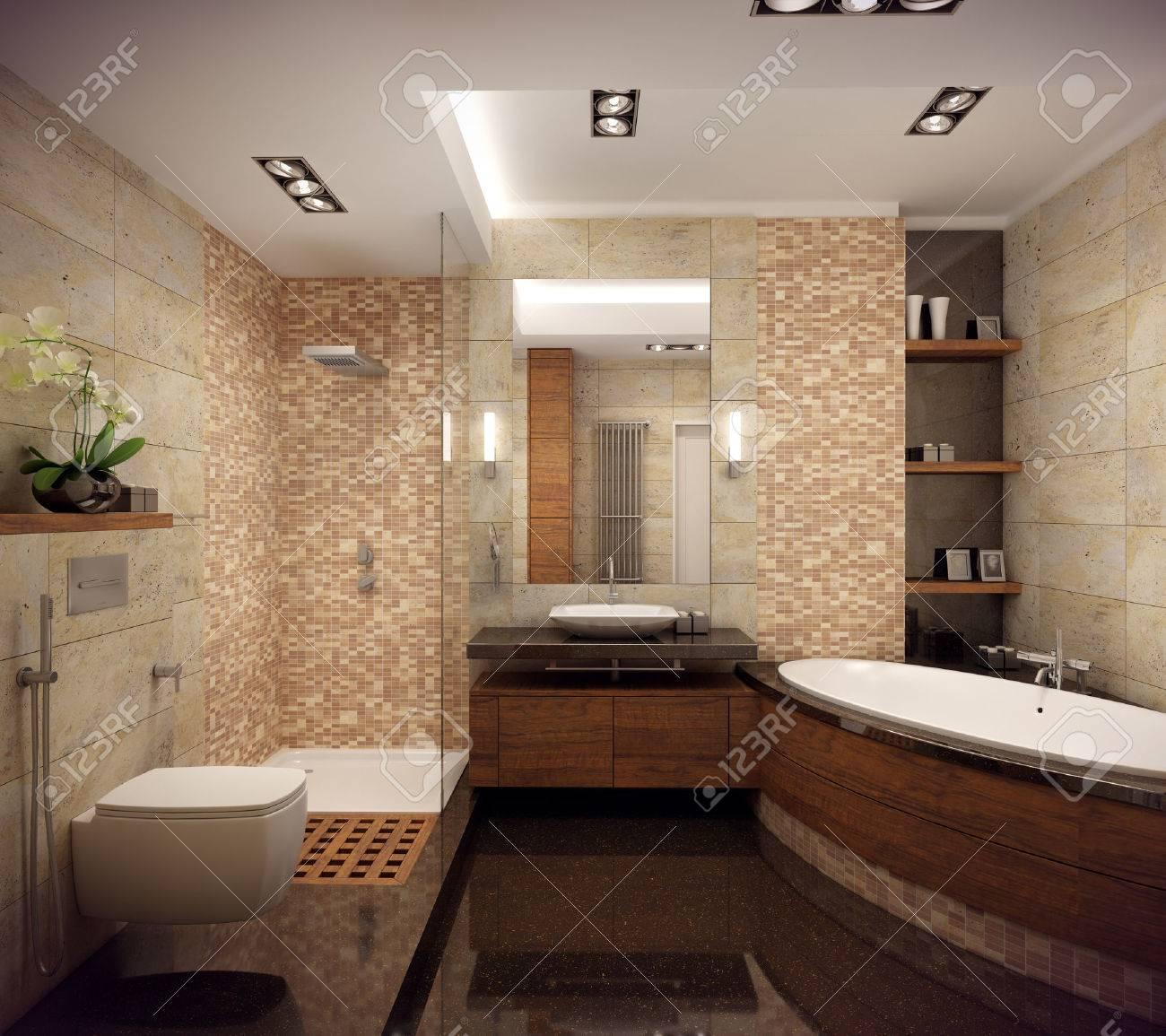 Representación 3D Del Interior Del Cuarto De Baño En Un Estilo ...