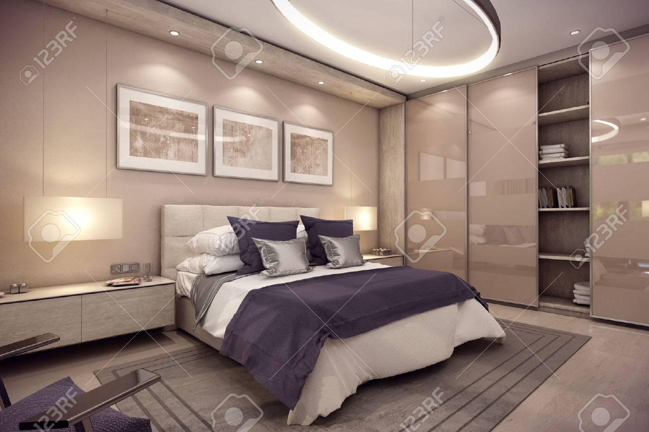3d Rendering Gemütliches Schlafzimmer Befindet Sich Im Dachgeschoss
