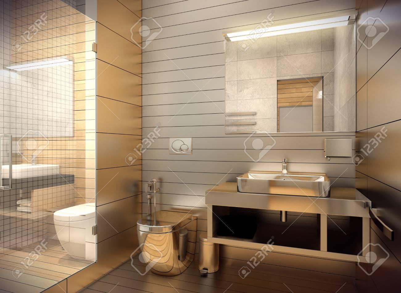 3D-Rendering Des Inneren Des Bades In Einem Zeitgenössischen Stil ...