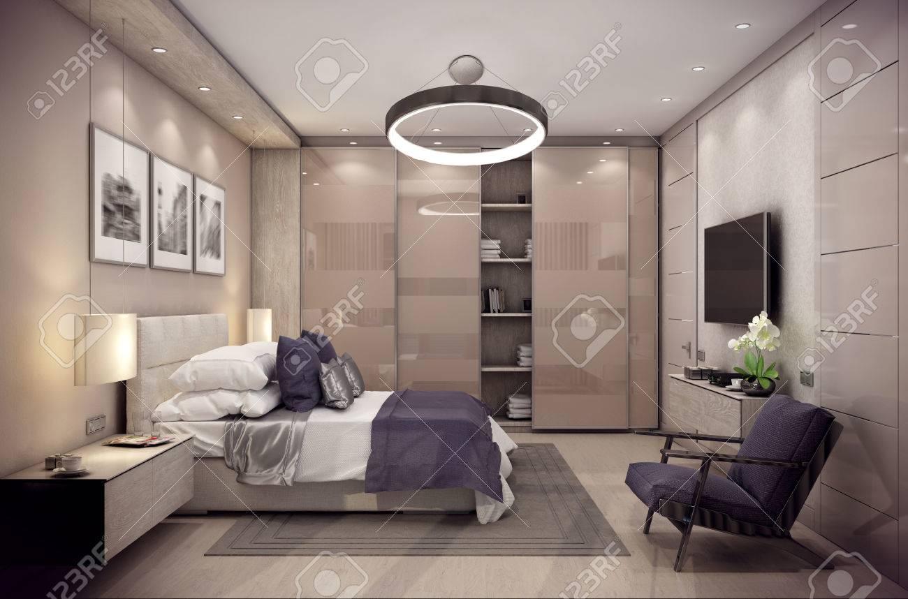 3D-Rendering-gemütliches Schlafzimmer Befindet Sich Im Dachgeschoss ...