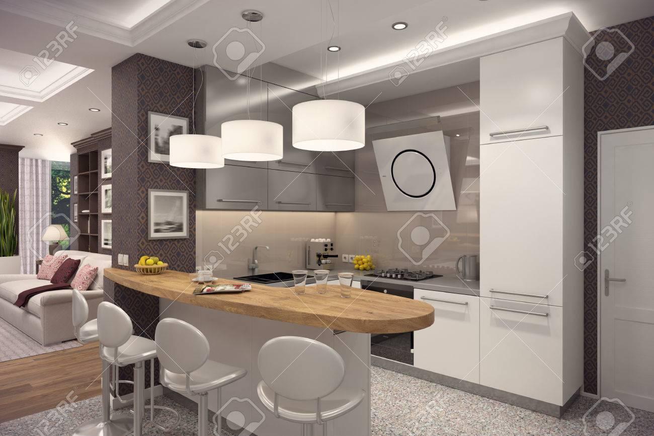 Immagini Stock - Rendering 3D Di Cucina In Stile Moderno. L\'interno ...