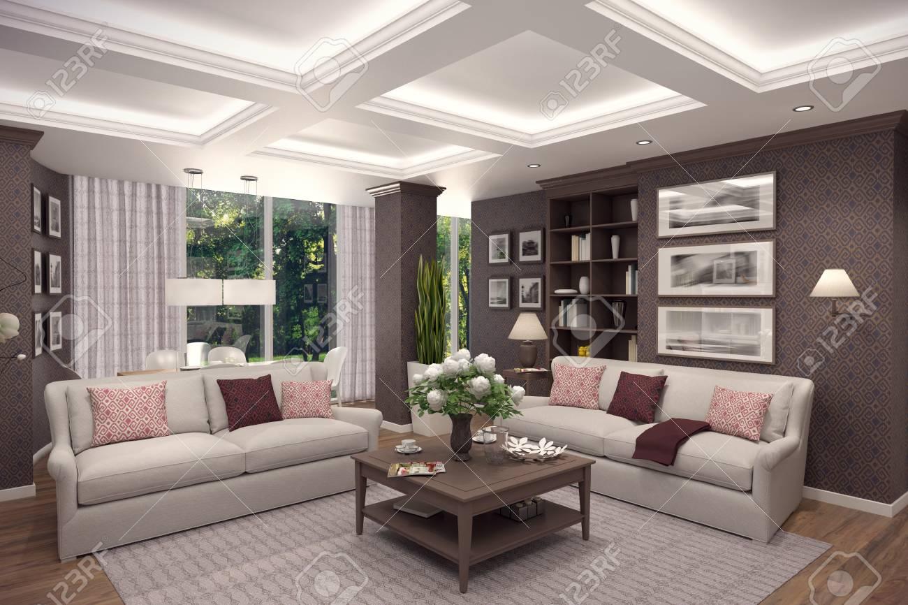 Rendu 3D de salon dans le classique style.The intérieur est décoré avec du  bois.