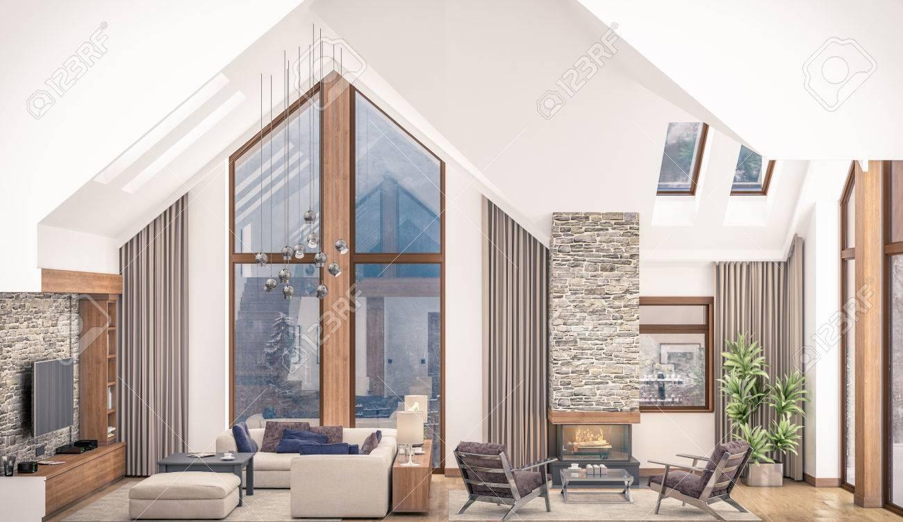 3D-Rendering Von Wohnzimmer, Küche Und Esszimmer Und Treppe Sind In ...