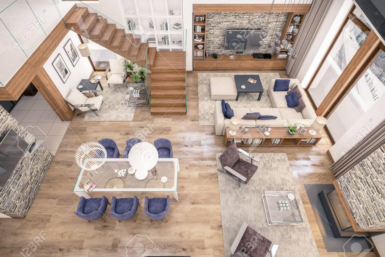 Representación 3D de la sala de estar, cocina y comedor y la escalera se  combinan en un área del chalet. El interior está decorado con madera y ...