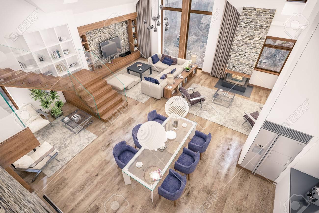 Representación 3D De La Sala De Estar, Cocina Y Comedor Y La ...