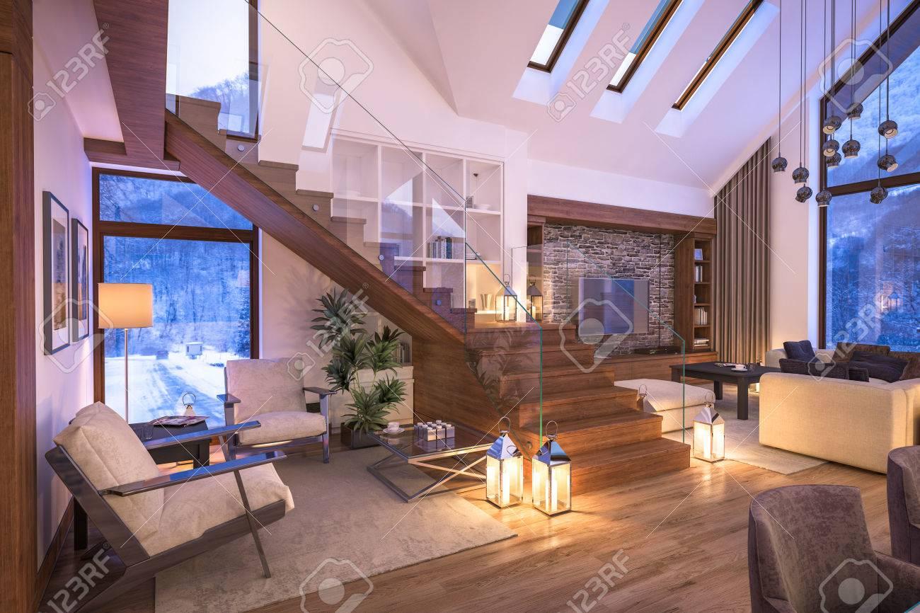 3D-Rendering Von Gemütlichen Wohnzimmer Auf Kalten Winternacht In ...