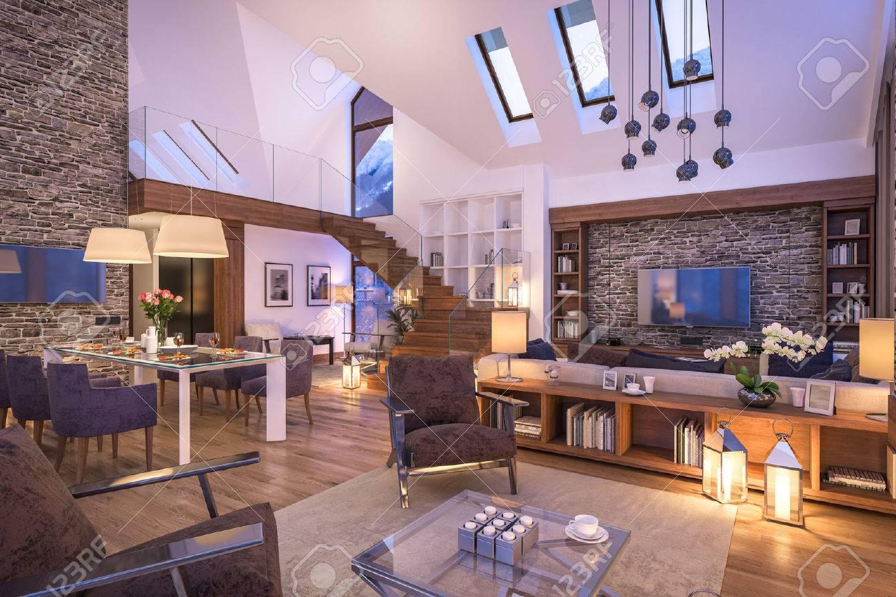 Genial 3D Rendering Von Gemütlichen Wohnzimmer Auf Kalten Winternacht In Den  Bergen, Am Abend Interieur