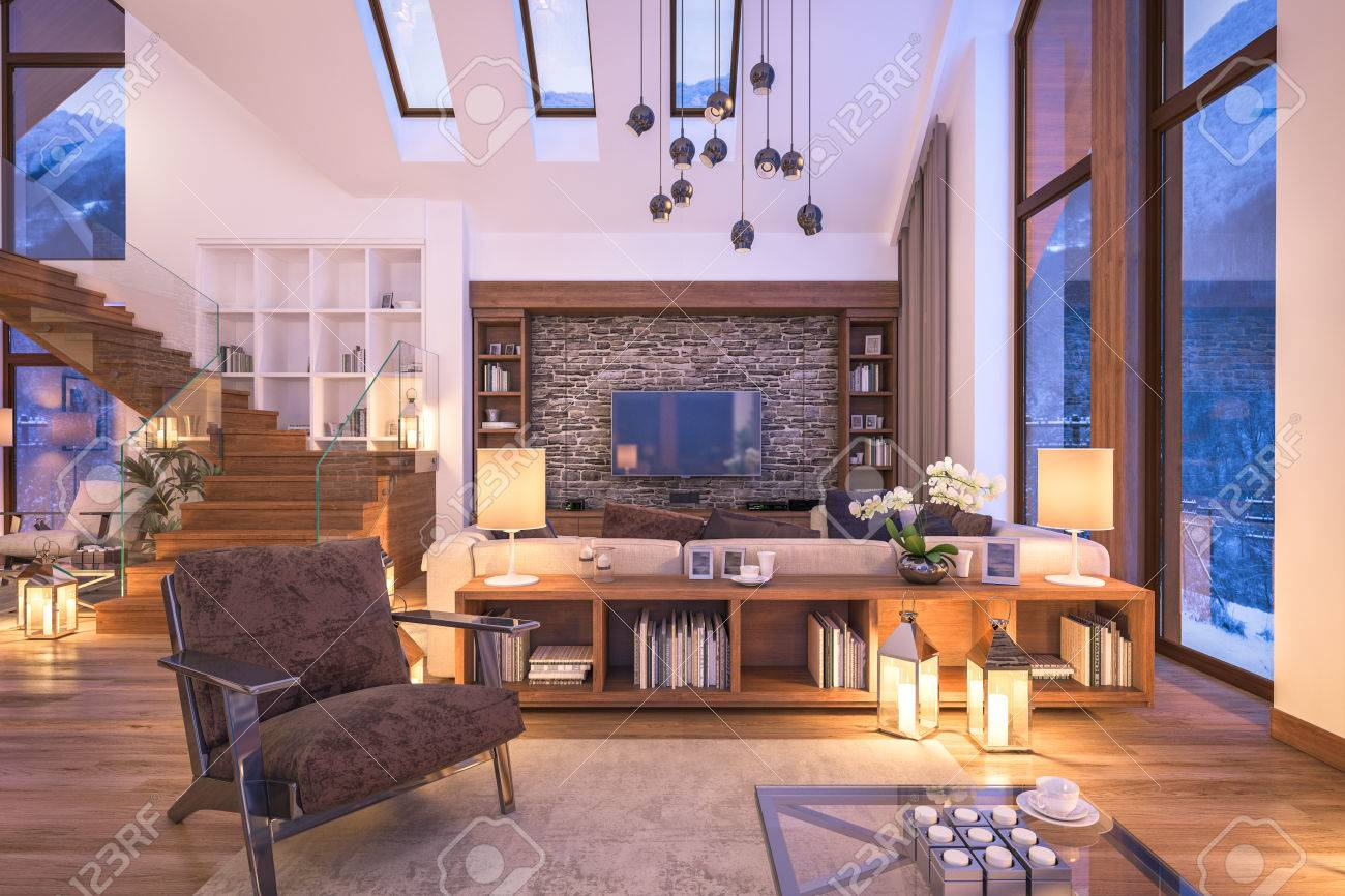 Amazing 3D Rendering Of Cozy Living Room On Cold Winter Night In The Mountains,  Evening Interior