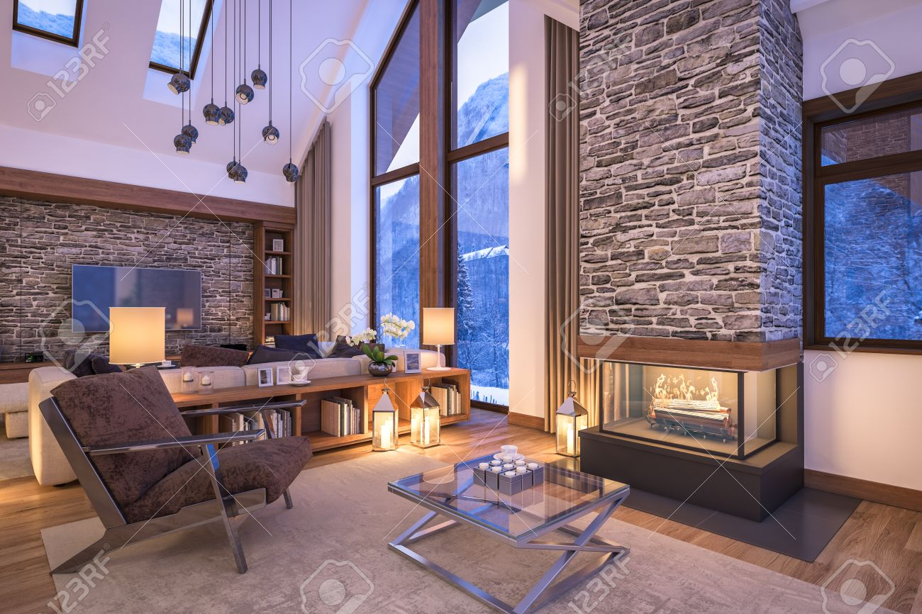 3D Rendering Of Cozy Living Room On Cold Winter Night In The Mountains Evening Interior