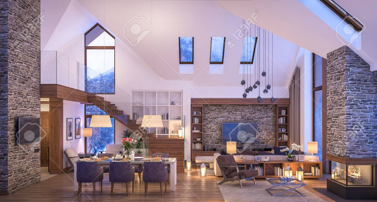 3d rendering of cozy living room on cold winter night in the 3d rendering of cozy living room on cold winter night in the mountains evening interior