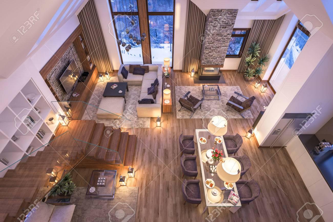 3D Rendering Von Gemütlichen Wohnzimmer Auf Kalten Winternacht In Den  Bergen, Am Abend Interieur