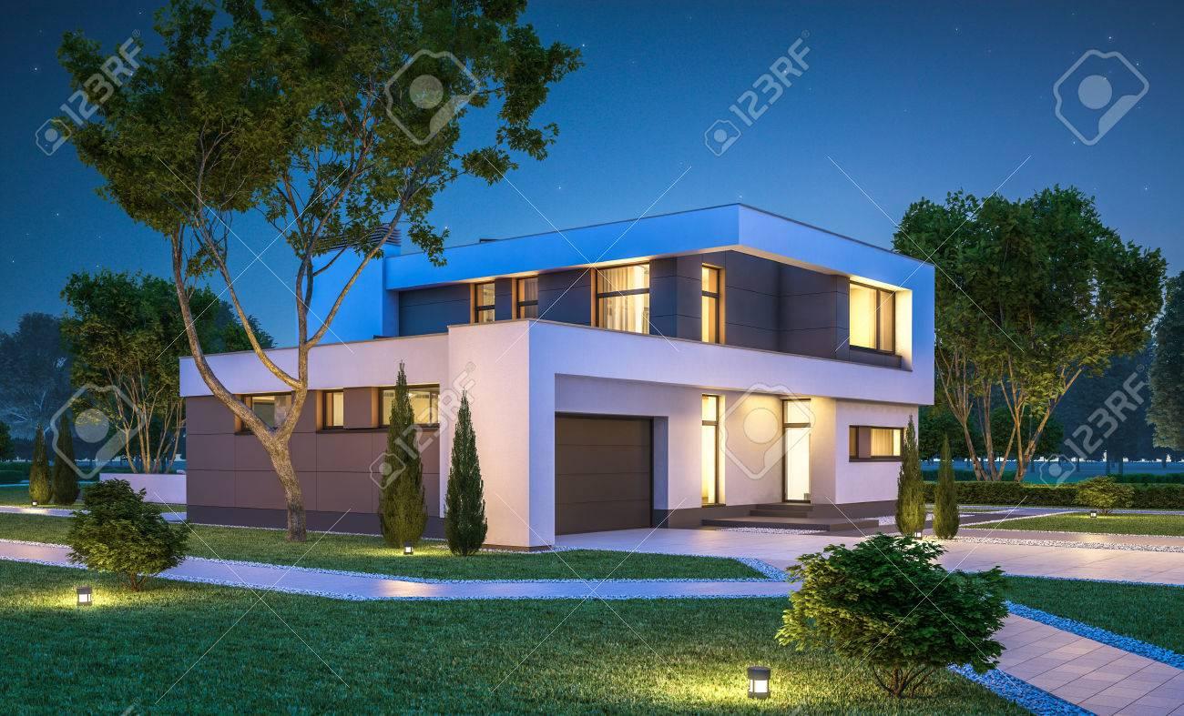 Rendu 3d De La Maison Moderne Et Confortable Avec Garage à Vendre Ou ...