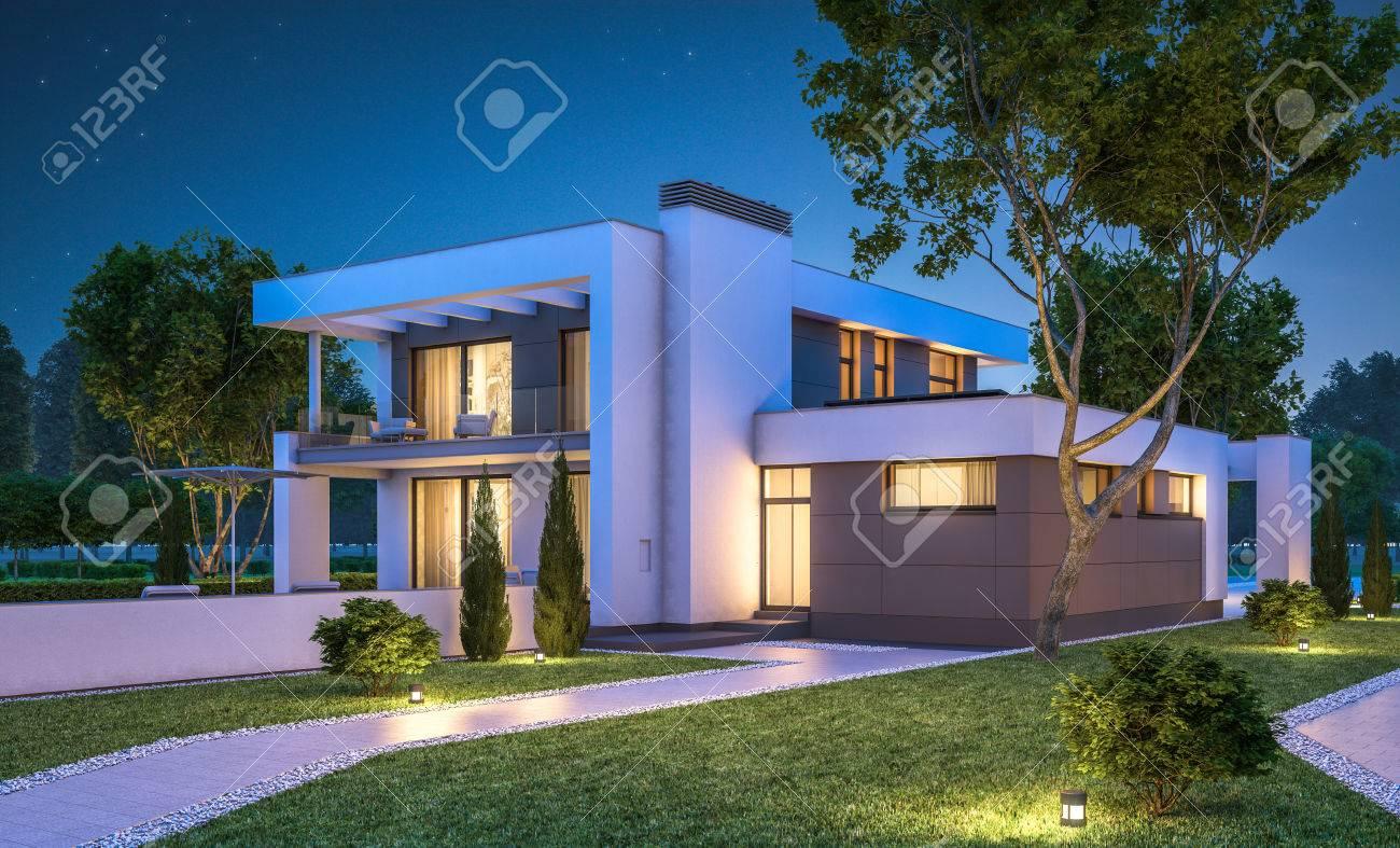 Erstaunlich Garage Am Haus Ideen Von 3d-rendering Der Modernen Gemütliches Mit Zum Verkauf