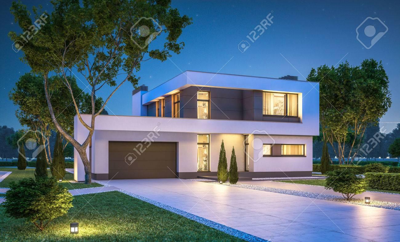 Außergewöhnlich Garage Am Haus Beste Wahl 3d-rendering Der Modernen Gemütliches Mit Zum Verkauf