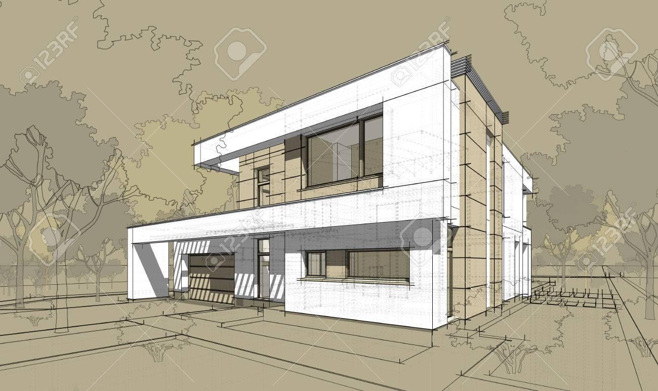 3d Rendering Skizze Der Modernen Gemutlichen Haus Mit Garage Zum Verkauf Oder Mieten Grossen Garten