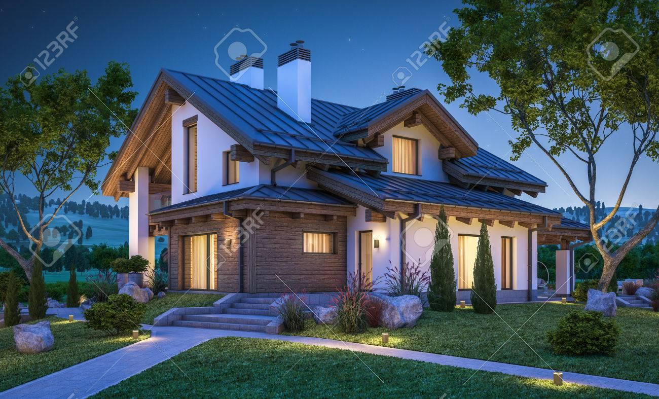 Innenarchitektur Garage Am Haus Referenz Von 3d-rendering Von Modernen Gemütlichen Im Chalet-stil Mit
