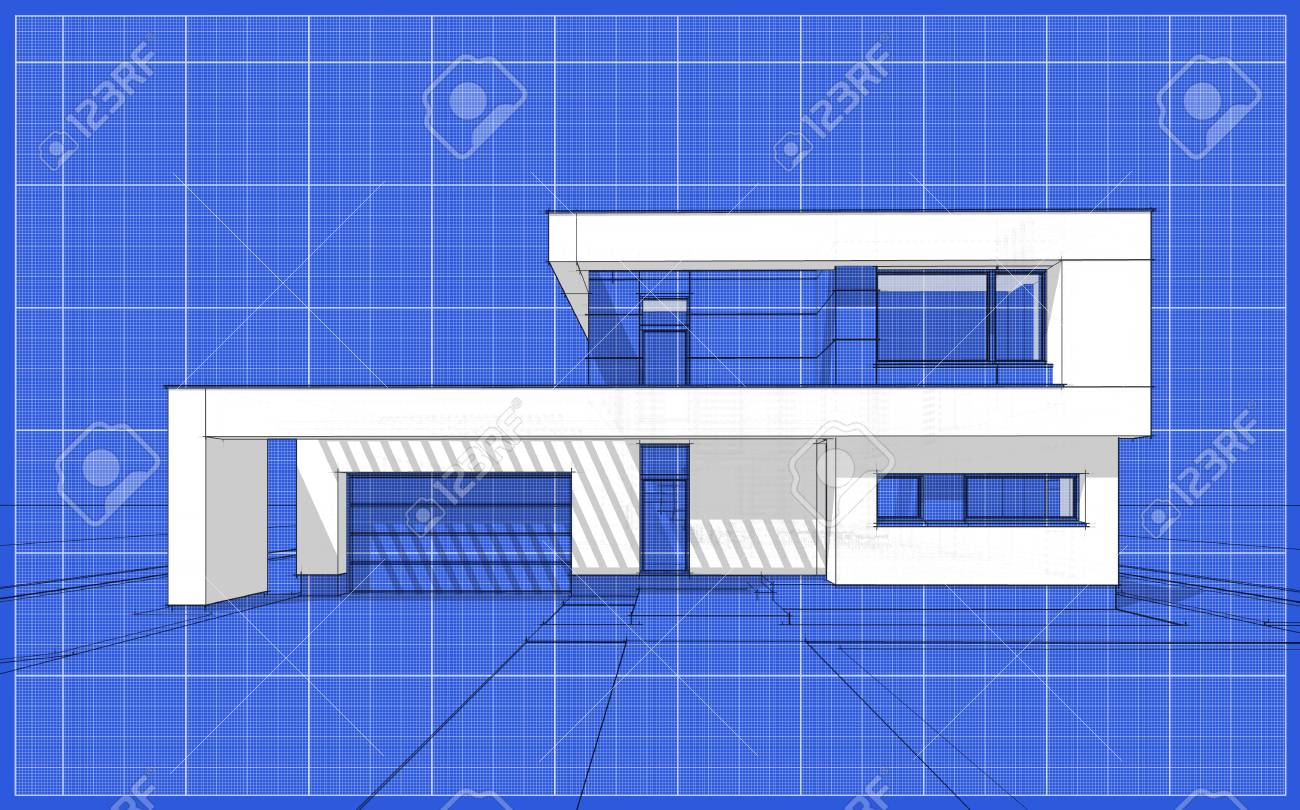 3d render sketch of modern cozy house for sale or rent aqua stock