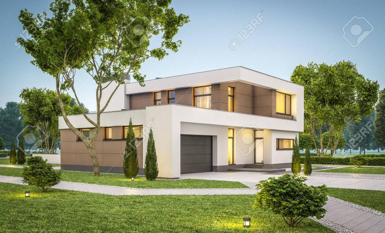 Représentation 3D De La Maison Moderne Et Confortable Avec Garage à ...