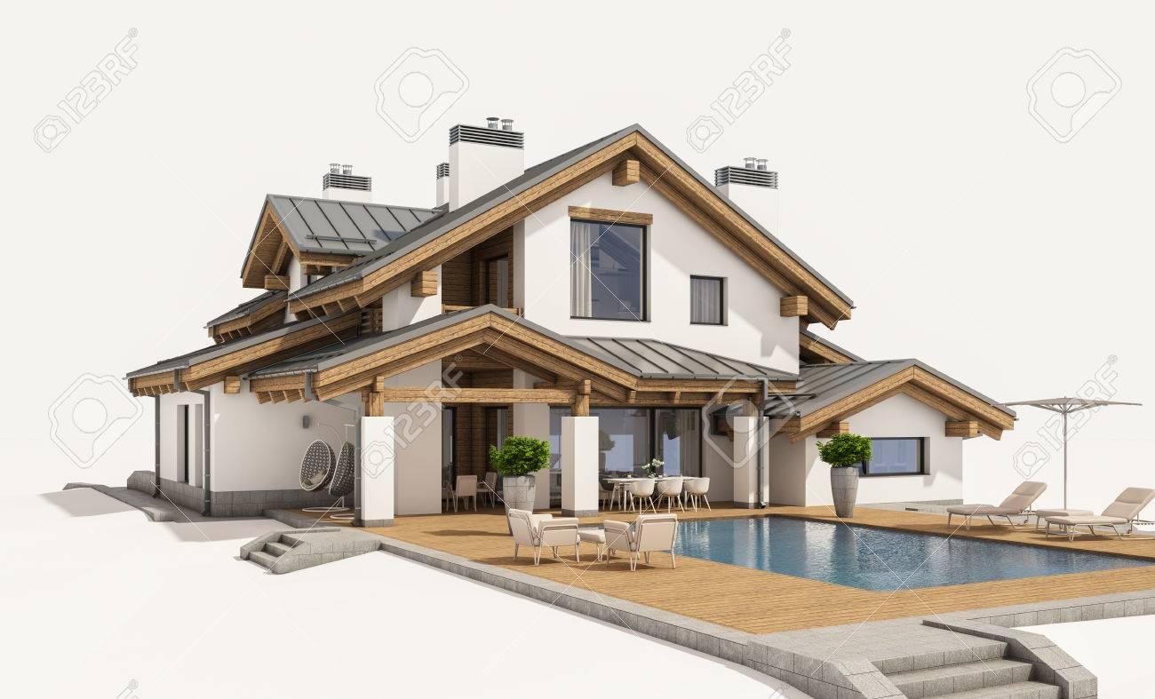 3D-Rendering Von Modernen Gemütlichen Haus Im Chalet-Stil Mit Garage ...