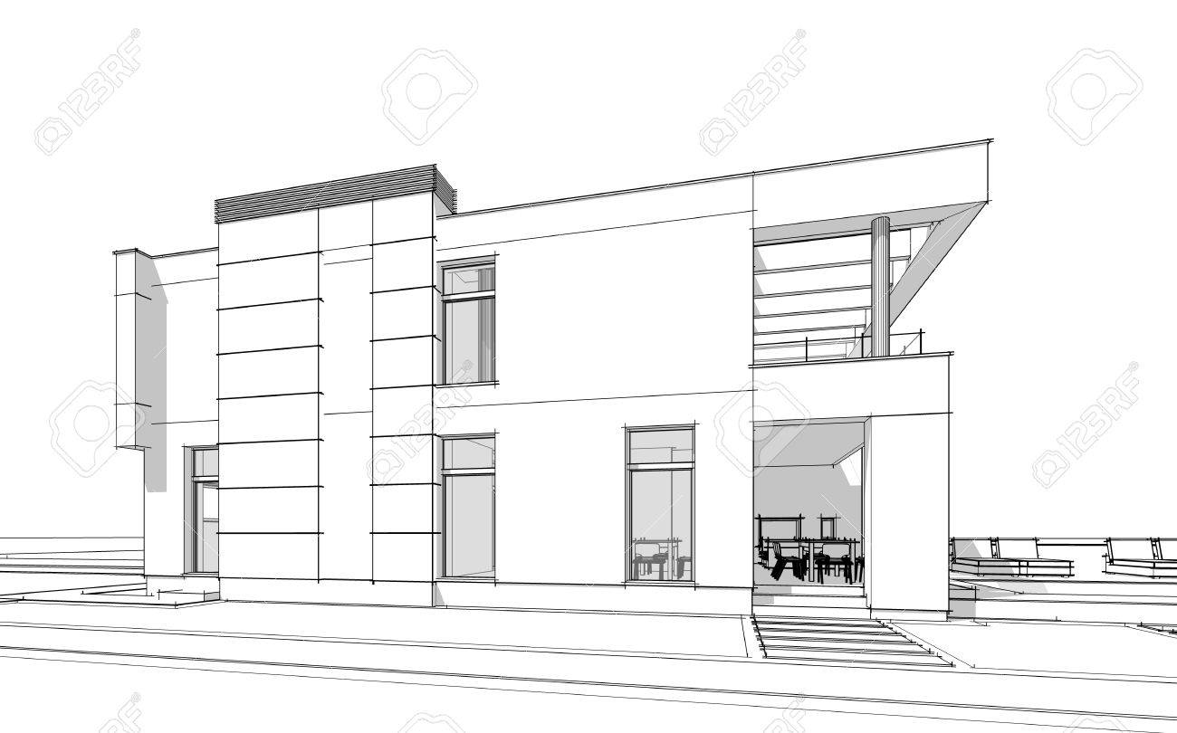 3d rendering sketch of modern cozy house with garage for sale or rent with large garden