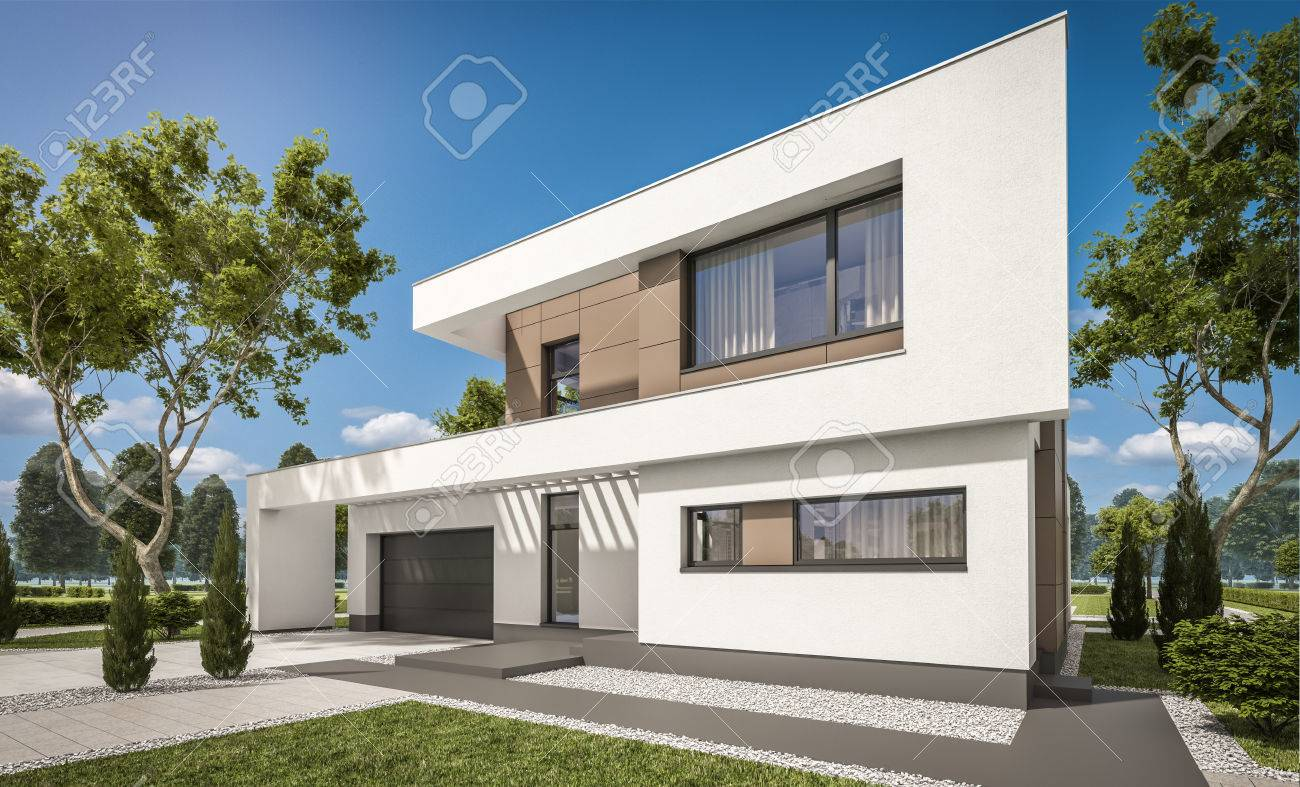 Rendement 3D D\'une Maison Moderne Et Confortable Avec Garage à ...