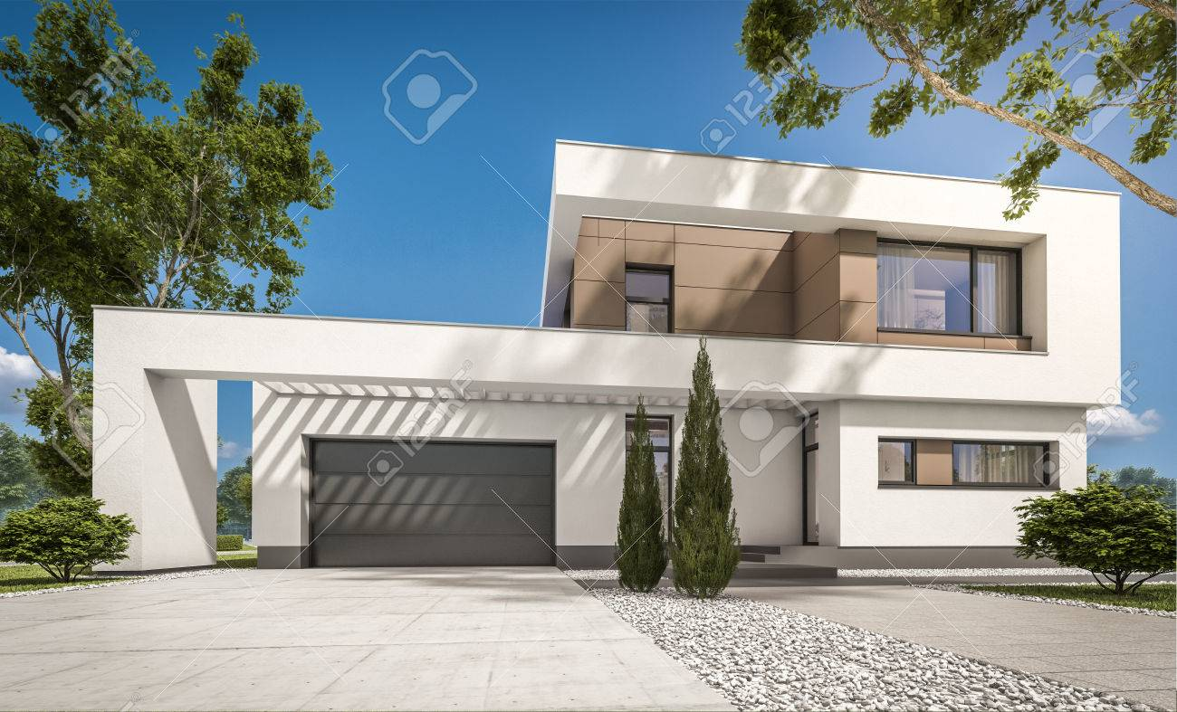 3d rendering of modern cozy house with garage for sale or rent with large garden and