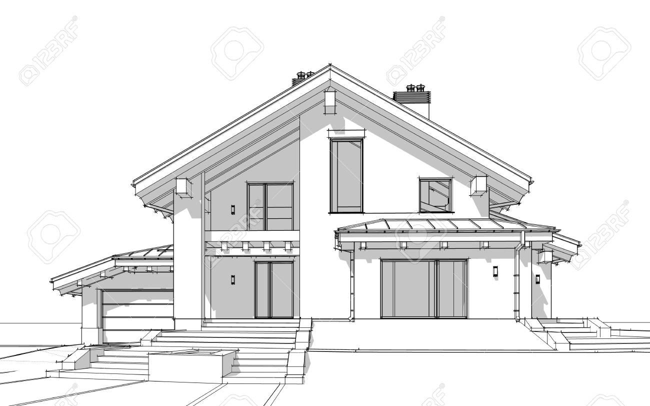 3D Render Skizze Der Modernen Gemütlichen Haus Im Chalet-Stil Zum ...