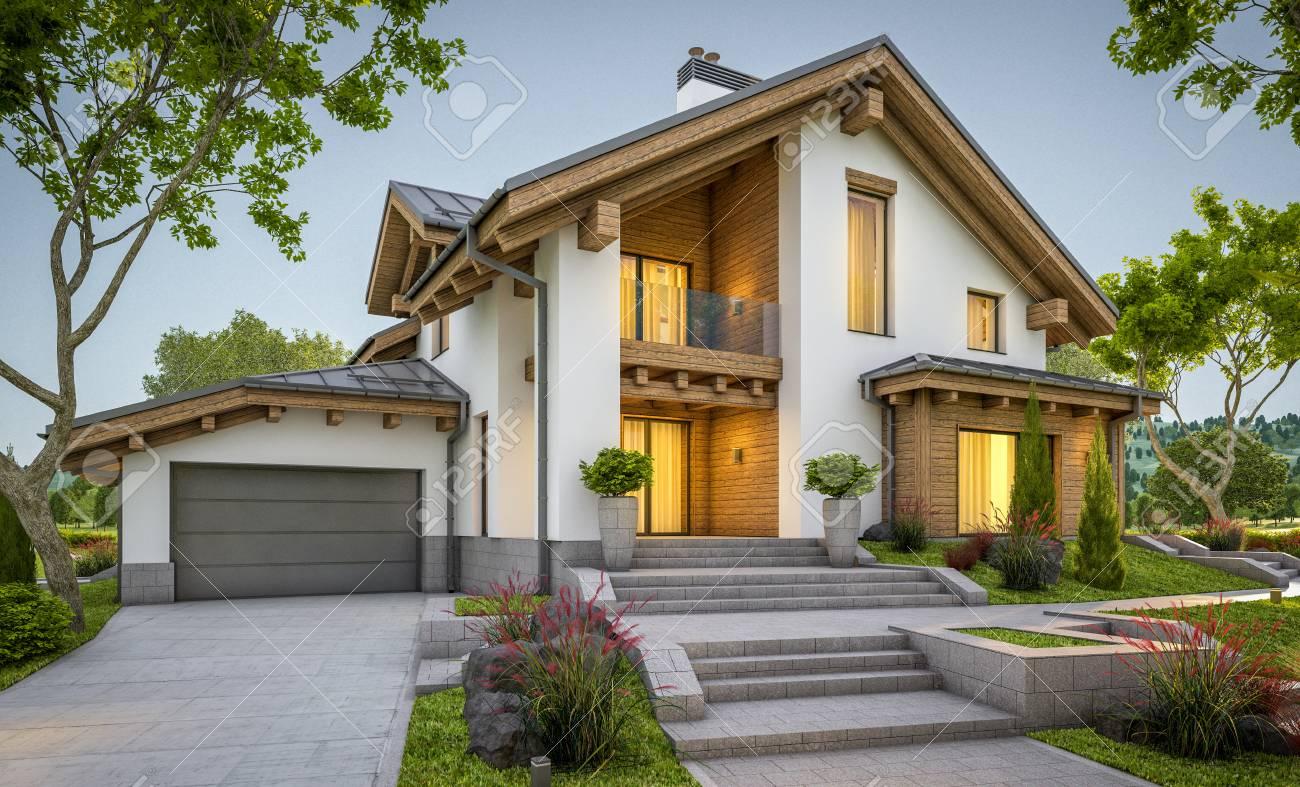 Bevorzugt 3D-Rendering Von Modernen Gemütlichen Haus Im Glashaus Mit Garage HA42