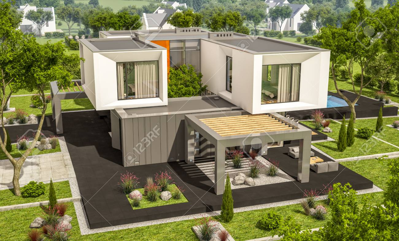 Rendu 3d de maison moderne confortable dans le jardin avec garage à vendre  avec une journée est avec une piscine de soleil dans la journée ensoleillée  ...