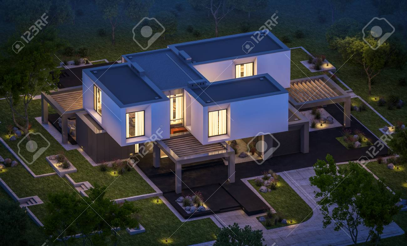 3d rendering of modern cozy house in the garden with garage for sale