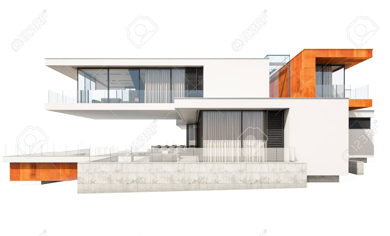 3d rendering of modern cozy house by the river with garage for sale