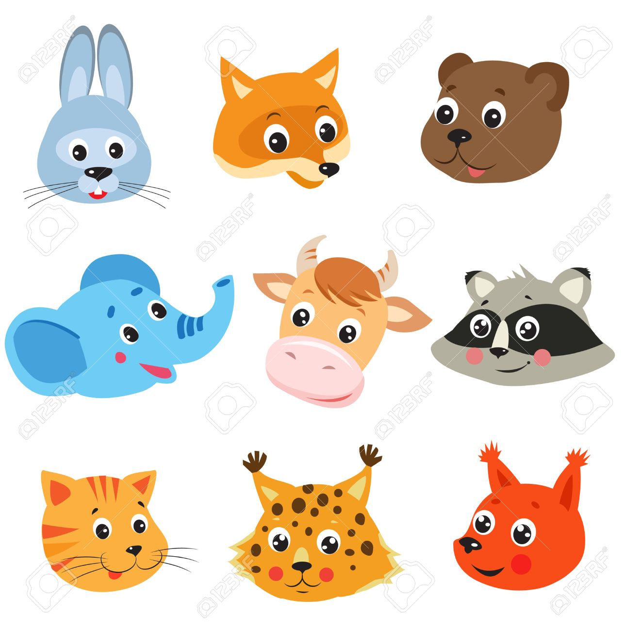 Cartoon Animal Vector Set On White Background Animal Face Mask