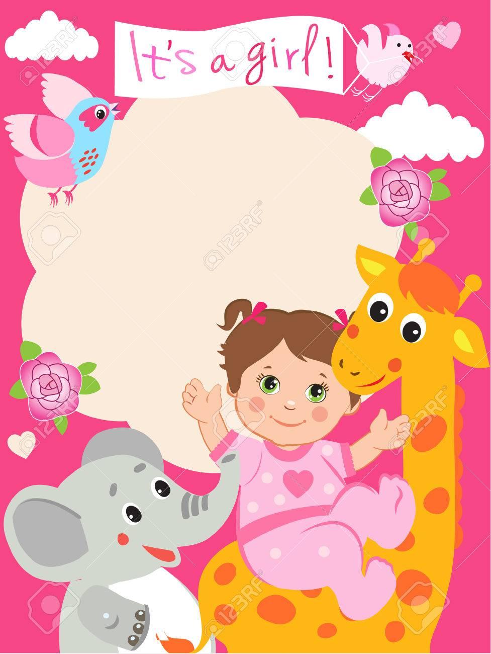 Baby Girl Shower Invitation Card With Funny Giraffe Elephant