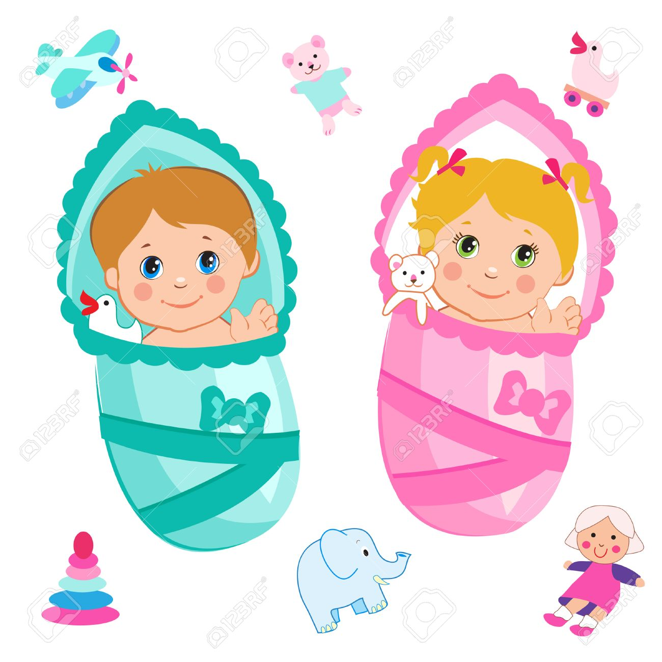 Baby Girl And Baby Boy Cartoon Vector On A White Background