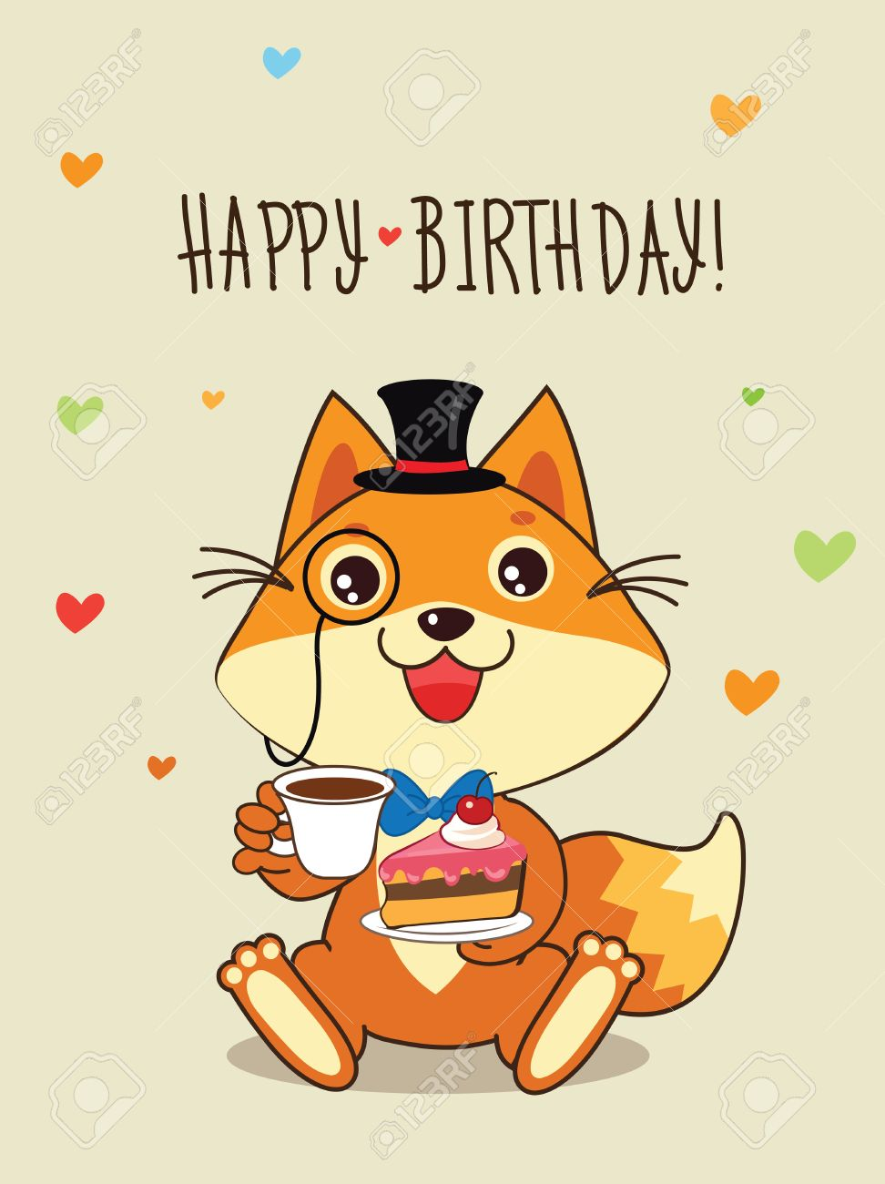 お誕生日おめでとうカードおかしい狐山高帽と彼の手でケーキ。ベクトル