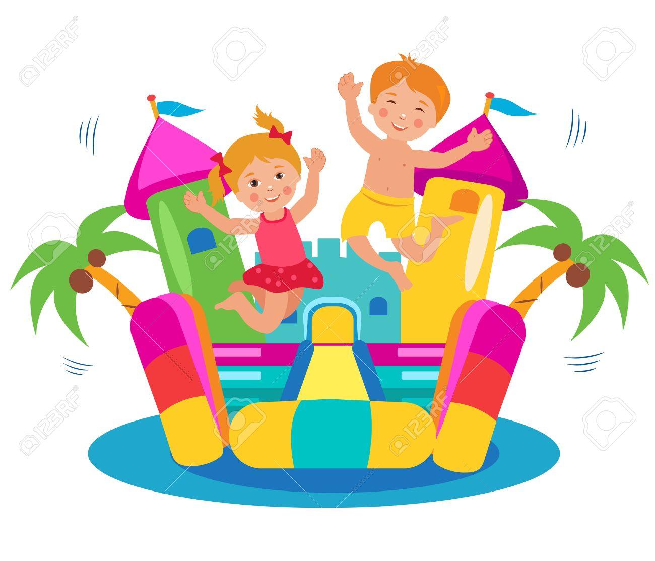 Cute Kids Jumping On A Bouncy Castle Set Cartoon Illustrations
