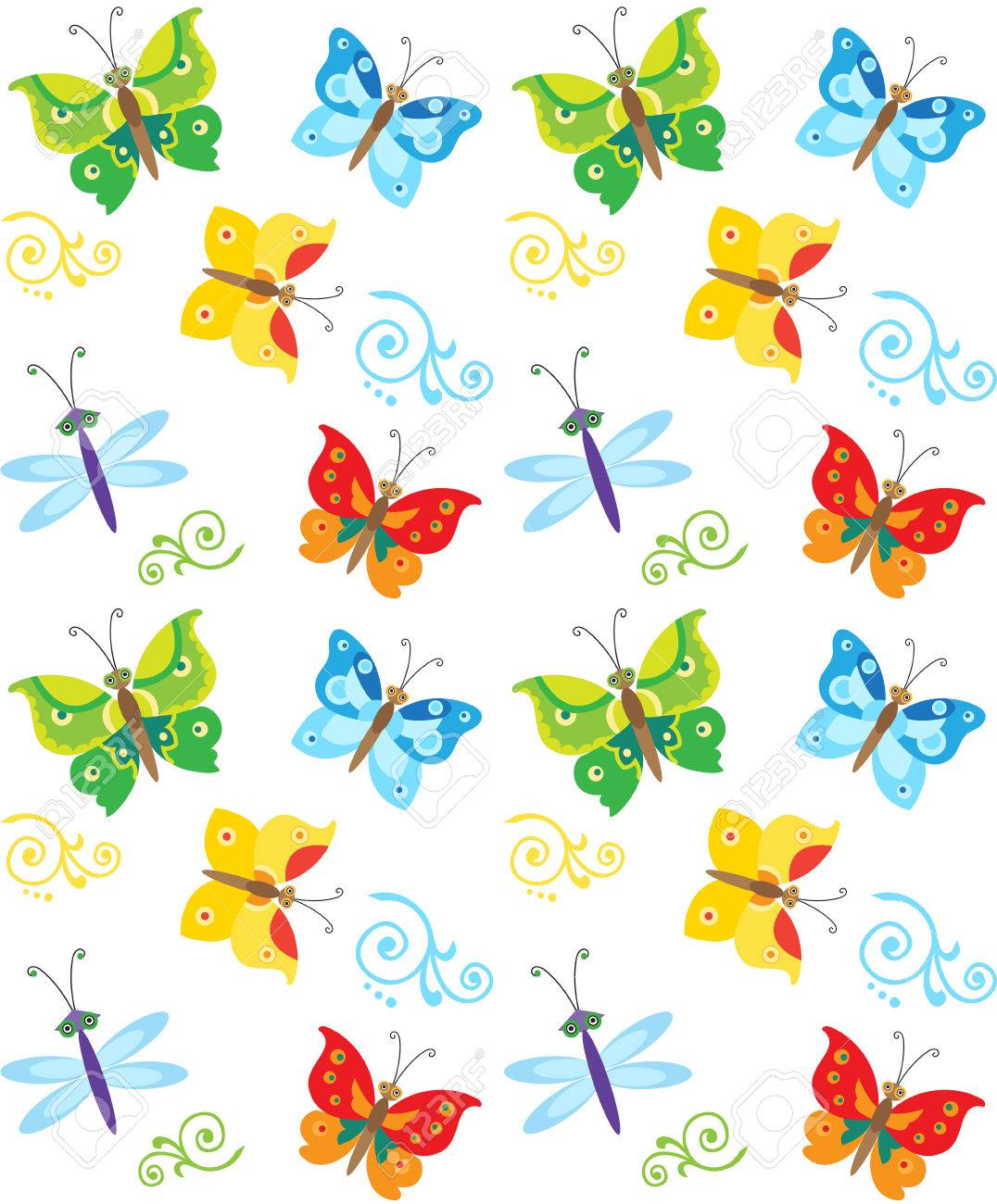 Cartoon Style Butterfly And Dragonfly Pattern Colorful