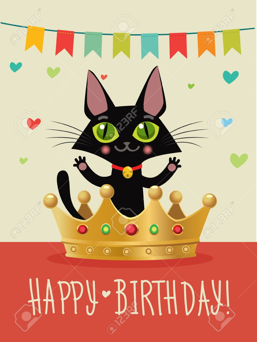 Happy Birthday To You Card With Funny Black Cat And Gold Crown Wish Humor Greeting Image In The