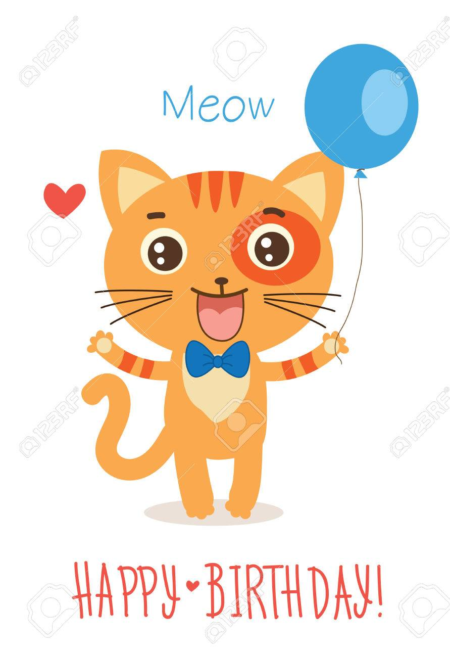Funny Kitty With Balloon Cute Cartoon Animal Vector On White Background Cat Greetings