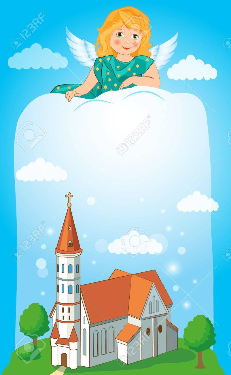 Iglesia Cristiana Con La Cruz. Ilustración Del Vector. Arte ...