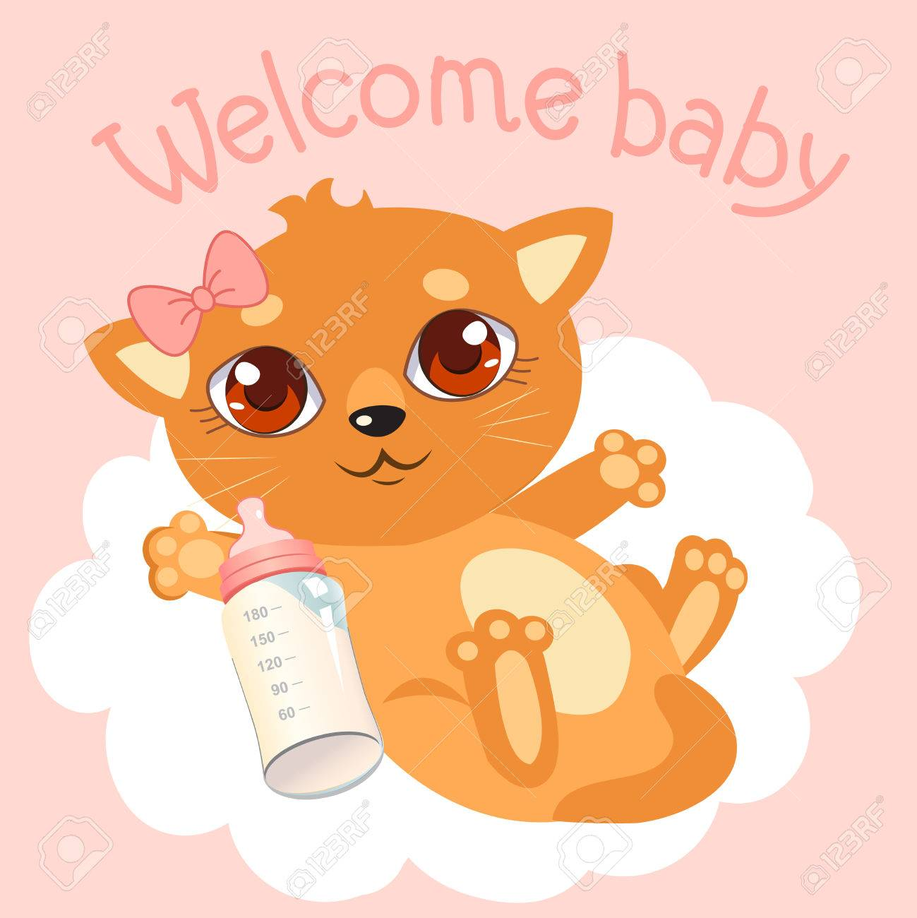 Welcome Baby Girl Newborn Baby Cat Welcome Baby Invitation