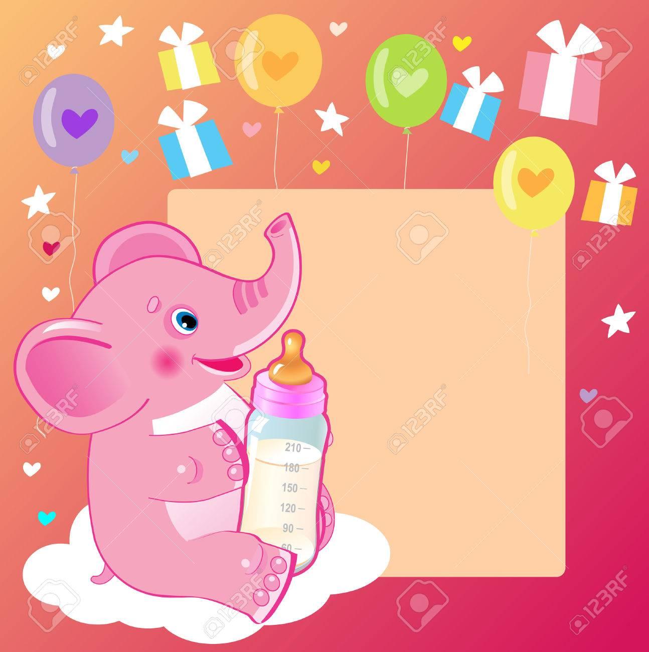 Elefante Lindo Con La Botella De Leche Bienvenido Tarjeta De La