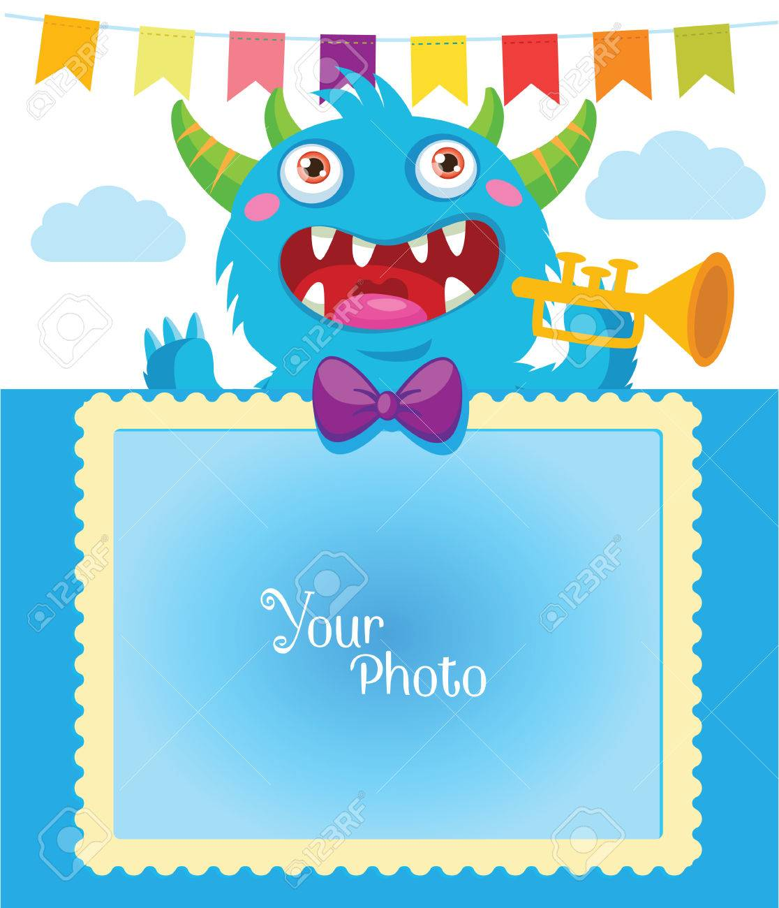 Nette Monster Frame. Cartoon-Monster-Illustration. Geburtstags-Thema ...