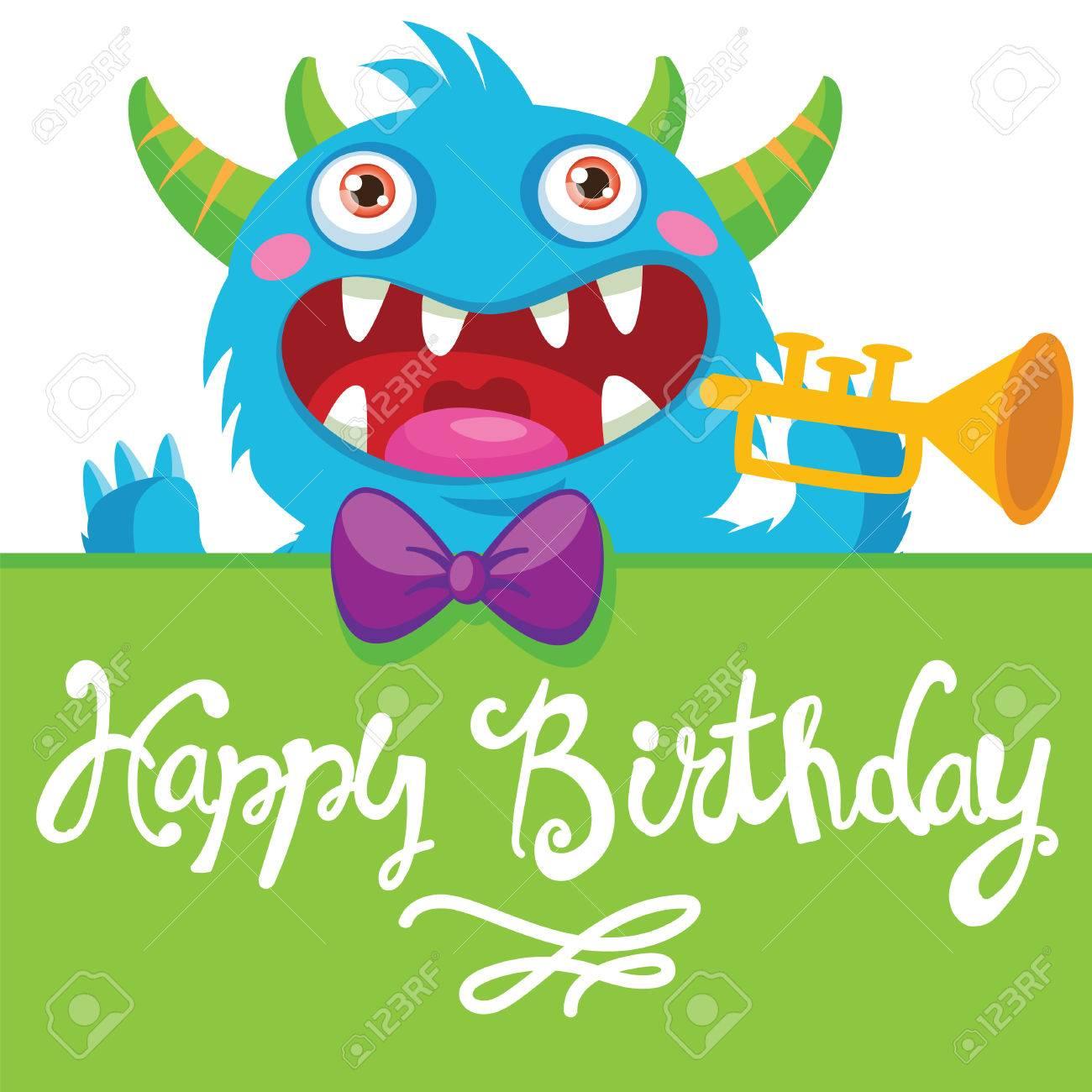 Cute Monster Cartoon Monster Illustration Funny Birthday Greeting