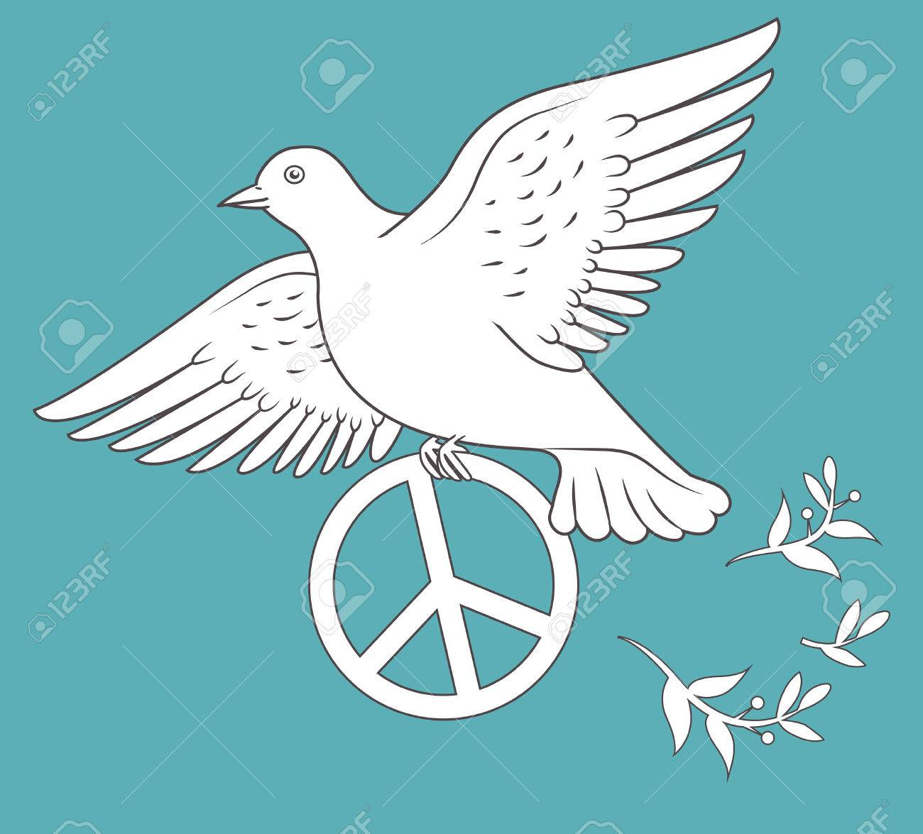 White dove in flight holding an antiwar sign on blue background white dove in flight holding an antiwar sign on blue background illustration antiwar protest biocorpaavc Gallery