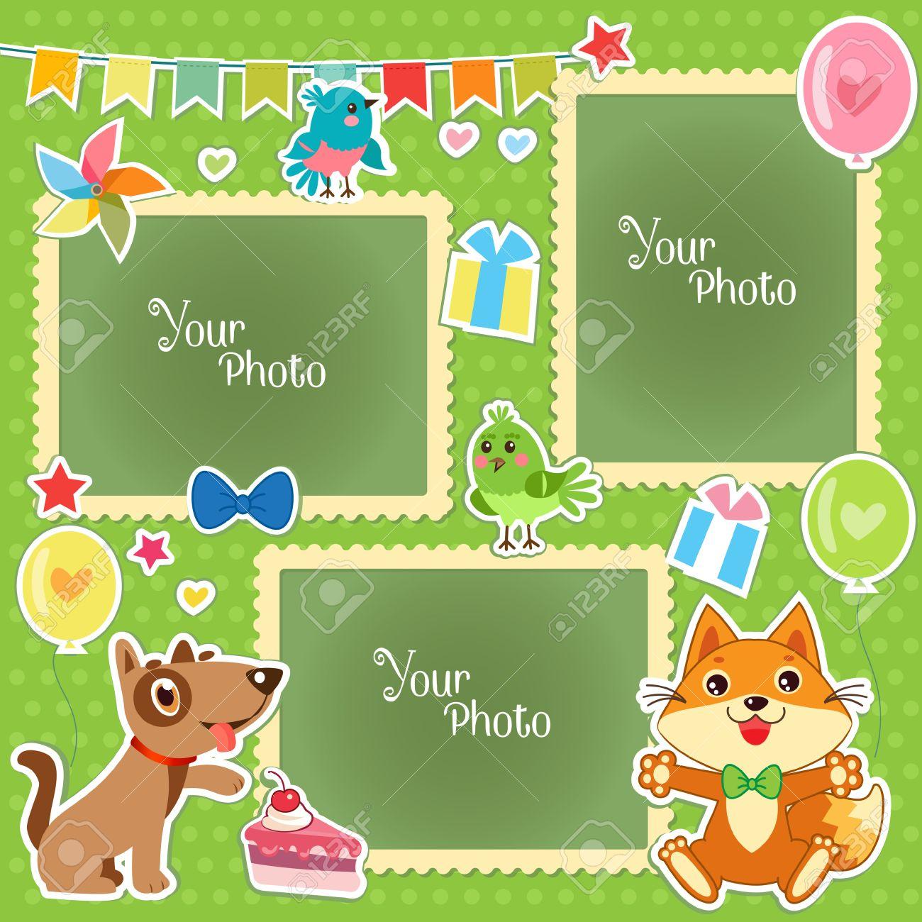 Marcos De Fotos Para Niños. Plantilla Decorativo Para El Bebé, La ...