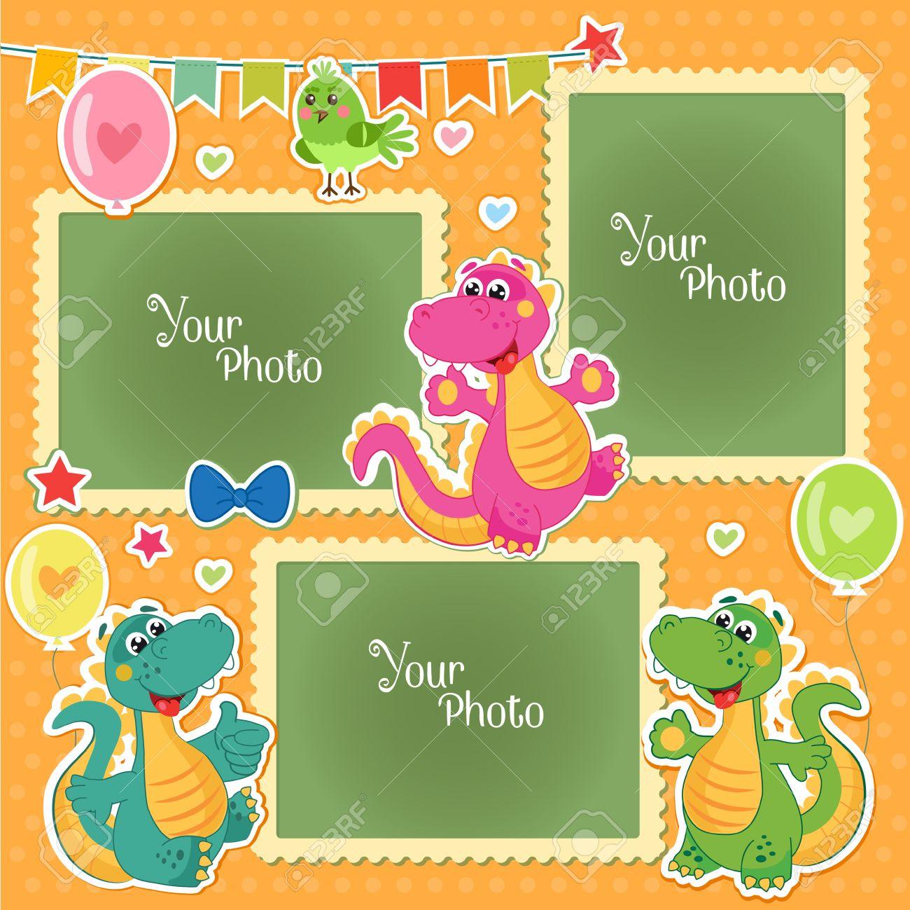 Marcos De Fotos Para Niños Con Los Dinosaurios. Plantilla Decorativo ...