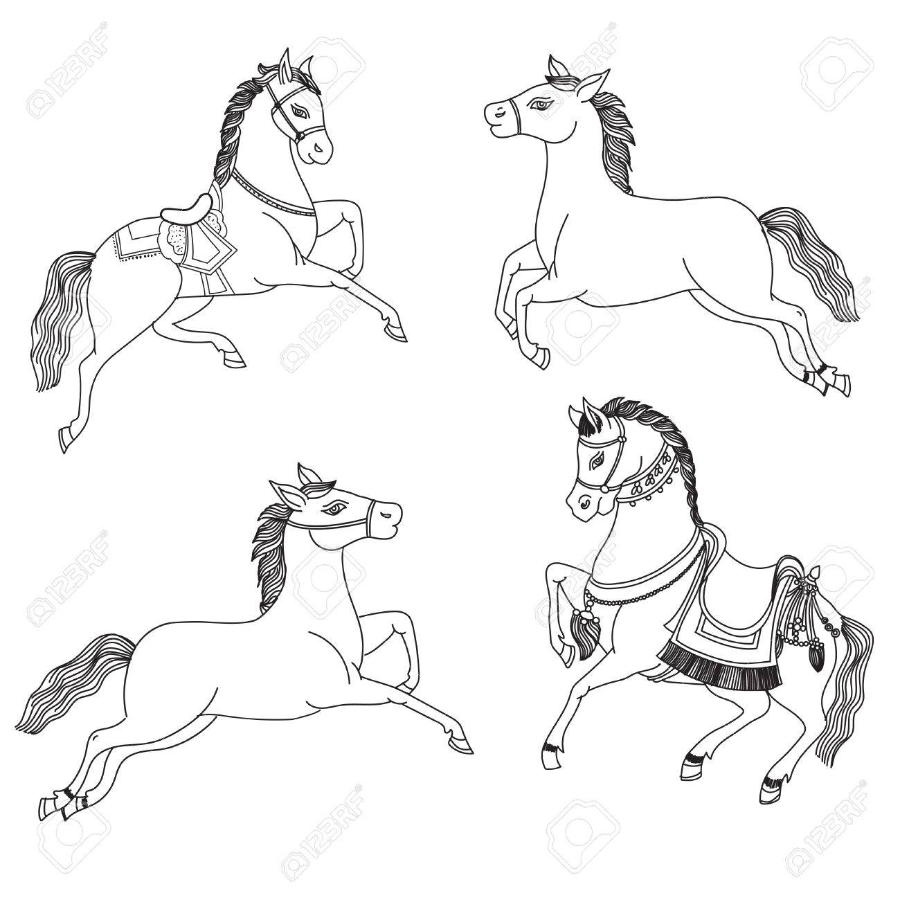 Running Horse Vector On A White Background Outline Drawing Horses Royalty Free Cliparts Vectors And Stock Illustration Image 61630850