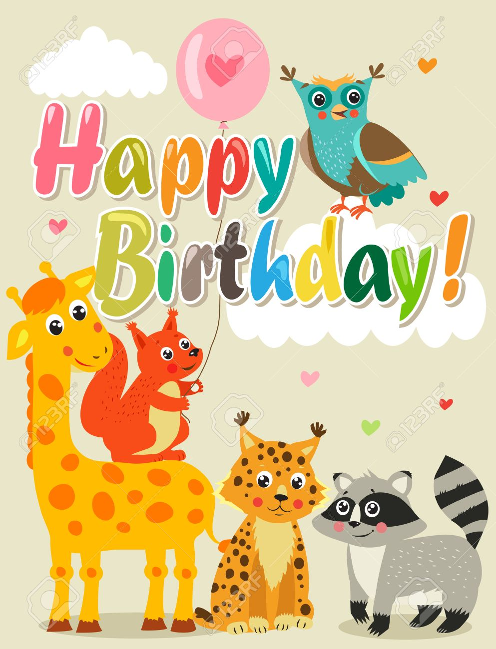 Happy Birthday Card With Funny Animals Vector Illustration Royalty Free Cliparts Vectors And Stock Illustration Image 62541067